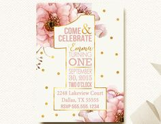 Floral Birthday Party Invitation First Birthday Girls