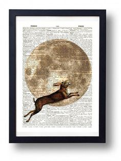 Original Art Print on A Vintage Dictionary Book Page / Leaping Hare and The Moon / Kitch / Folklore / Mystical