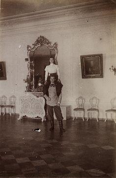 Grand Duchess Olga Alexandrovna and Grand Duke Michael Alexandrovich in Gatchina. Late 1890's