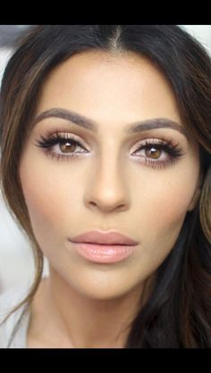 #Face Big lashes, soft gold eye shadow, light lip, flawless foundation