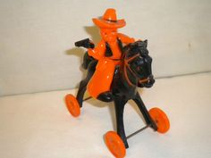 Vintage Halloween Collectible ~ Plastic Cowboy and Hobby Horse Toy