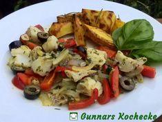 Mediterrane Fischpfanne mit Oliven und Paprika und Rosmarin-Kartoffeln