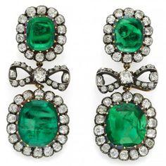 Pair of Antique emerald and diamond earrings, circa 1890.  Simon Teakle