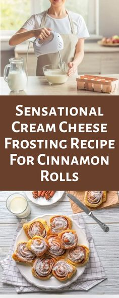 Yummy cream cheese frosting for cinnamon rolls! One of the best ways to wake up in the morning is to the smell of freshly baked cinnamon rolls. Gooey cinnamon rolls with creamy frosting are guaranteed to make your mouth water Best Frosting Recipe, Frosting Recipes, Cinnamon Roll Frosting, Cream Cheese Frosting, Desserts To Make, Dessert Recipes, Cinnamon Rolls From Scratch, Different Types Of Cakes, Cinnamon Recipes