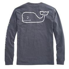 Vineyard Vines Long-Sleeve Vintage Whale Graphic Pocket Tee in Seal Blue
