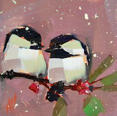 Hey, I found this really awesome Etsy listing at https://www.etsy.com/listing/222512956/two-chickadees-no-43-original-bird-oil