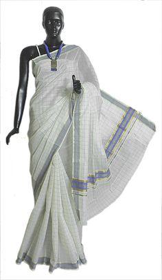 White Kerala Cotton Saree with Purple Check and Border (Cotton))