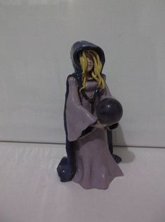 Amethyst Witch with Genuine Amethyst Crystal  ball, Altar Figurine, Hand Crafted, Ceramic