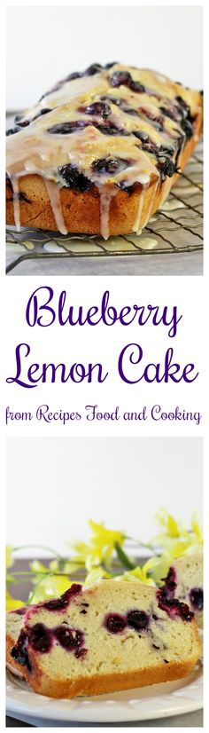 Blueberry Lemon Cake - Lemon and blueberries together flavor this cake which has a texture close to a pound cake.