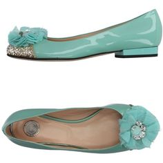 Elisabetta Franchi Ballet Flats (19.425 RUB) ❤ liked on Polyvore featuring shoes, flats, turquoise, ballet pumps, glitter ballet flats, leather ballet flats, ballerina shoes and leather flats