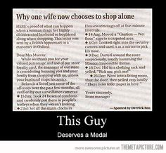 why wives choose to shop alone lol