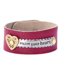 Look what I found on #zulily! Magenta & Two-Tone 'Follow Your Heart' Leather Bracelet #zulilyfinds
