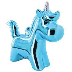 Hucha Unicornio azul brillo