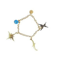 "Charm Bracelet  $65  8""/20cm L adjustable  Brass  5 Charms"