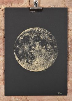Full Moon screeprint  A4  gold ink on black paper by SabrinaKaici, £35.00