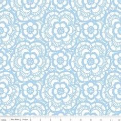 """""""Carolina Lace White""""-Blue Carolina by Christopher Thompson, The Tattooed Quilter for Riley Blake"""