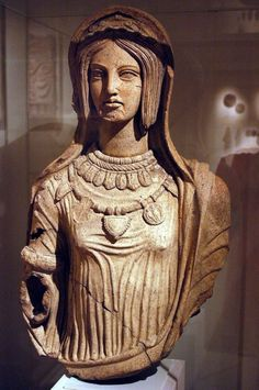 Etruscan terracotta statue of a woman. Artist unknown; late 4th or early 3rd cent. BCE. Now in the Metropolitan Museum of Art.