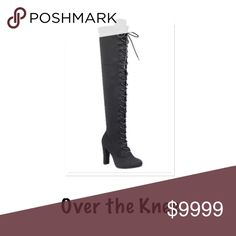 "3 LEFT Over the Knee Lace up Boots Out of stock everywhere. Gorgeous over the knee lace up boots.  Vegan suede. 4"" heel. Form fitting and amazing on! Fit true to size. Price firm unless bundled. No trades. Shoes Over the Knee Boots"