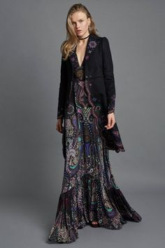 Roberto Cavalli autumn/winter 2017 pre-fall Collection I like the dark moodiness of this dress and the jacket - though not sure I could pull off the length or formality of this outfit. I am drawn to it, suits my inner glam girl Fashion Week, Fashion 2017, Runway Fashion, Boho Fashion, High Fashion, Fashion Show, Autumn Fashion, Fashion Dresses, Fashion Design