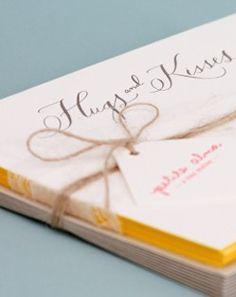 Hugs and Kisses letterpress notecards