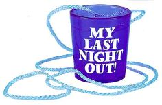"""To make sure that the guest of honor always has a shot glass ready, this """"My Last Night Out"""" Hanging Shot Glass is the perfect accessory to pick up for the Bride to Be or Groom to Be! Last Night, Night Out, Bachelorette Party Drinks, Blue Shots, Types Of Shots, Colorful Party, Shot Glasses, Glass Necklace, Groom"""
