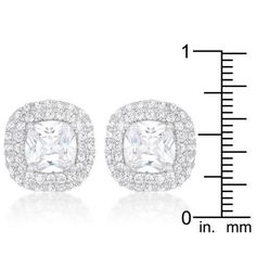Cushion Pave Stud Earrings - Jewelry