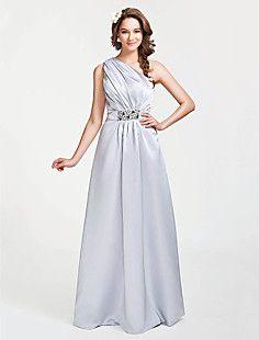 A-line One Shoulder Floor-length Satin Bridesmaid Dress – EUR € 65.33