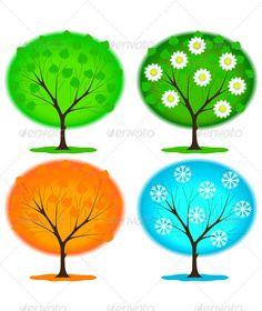 Buy Icon Seasons by rodakm on GraphicRiver. Vector Design, Design Templates, Graphic Prints, Graphic Design, Portrait, Four Seasons, Diy For Kids, Digital Illustration, Illustrations Posters