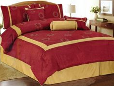 Intense reds and golds dominate this hand crafted and embroidered bed outfit.  The bright reds are highlighted by striking gold frame. The Comforter is adorned with embroidered star  bursts that give the pattern is name. Includes: 1 Queen Comforter  (90x92), 2 std. shams (20.5x26 inches), bed skirt (60x80+14 drop), 1  neck roll pillow (6x16), 1 square pillow (16.5x16.5), 1 breakfast pillow  (12x18). 100% polyester embroidered face material with cording. 100%  polyester fill…