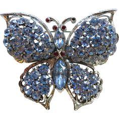 Weiss blue rhinestone butterfly