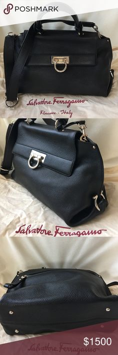 "Ferragamo Sofia Medium Pebbled Bag - barely used The Signature Ferragamo Sofia Satchel. Worn only a couple of times. ***Currently in stores for $2,250*** Includes original dust bag.  Purchased at the Ferragamo store at the Caesar Forum Shops in Las Vegas purchased by me. Guaranteed authentic.   Pebbled leather Made in Italy Top handle; detachable adjustable shoulder strap Turnlock flap closure; lined Exterior zip pocket, interior zip pocket, interior slip pocket 13""W x 5""D x 8""H; 4.5"" handle…"