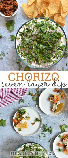 Chorizo 7 Layer Dip is a full-of-flavor, fiesta-ready appetizer with chorizo, white corn, cilantro and kale. Yummy Appetizers, Appetizers For Party, Appetizer Recipes, Snack Recipes, Party Dips, Party Recipes, Dip Recipes, Yummy Recipes, Recipies