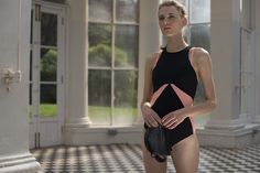 A highly technical one-piece with sculpting Sensitive fabric, a longer-length zip pull, statement colour blocking and breathable power mesh paneling from Sweaty Betty this SS15