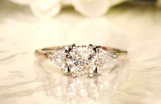 Three Stone Vintage Engagement Ring by LadyRoseVintageJewel