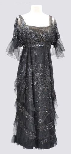 ~Evening Dress short sleeve black sequined tulle. ca 1915. Worth~