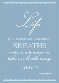 Life is not measured by the number of breaths we take, but by the moments that take our breath away. - angelou