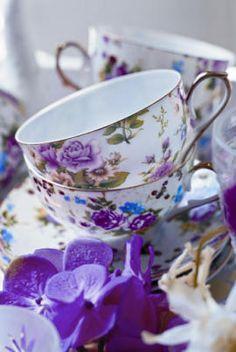 floral tea cups #purple #blue