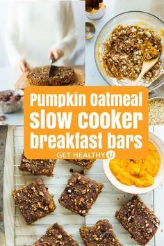 Try these vegan pumpkin oatmeal breakfast bars for a delicious sweet yet spicy healthy breakfast bar you can take on the go! Make them in the slow cooker for a tasty, gluten free, and portable breakfast that's only 110 calories!