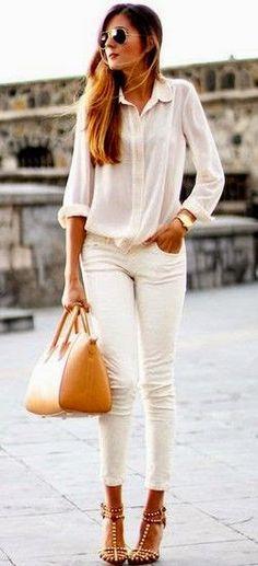 Street style | White blouse, skinnies, heels, handbag