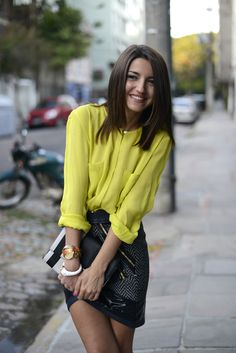 Yellow blouse, textured asymetrical skirt