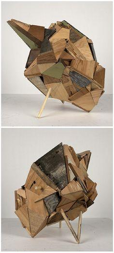 Reclaimed wood sculptures by Aaron S Moran, design squish blog