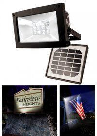The Solar Flood Light for Continuous Lighting is perfect for continuous lighting of flags, signage, gardens, landscapes, walkways, driveways, decks, patios or any large outdoor area. Mount in ground for up-lighting, or to a wall, or to illuminate flags. Auto on at dusk with up to 10 hours of light.