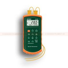 http://termometer.dk/termometer-r13808/termometer-termoelement-r13903/2-kanals-termometer-med-sporbart-kalibreringscertifikat-nist-53-421502-NIST-r13905  2-kanals termometer med sporbart kalibreringscertifikat NIST  Temperaturområdet -200 til 1370 ° C termoelement type K og -200 til 1050 ° C for type J  Robust vandtæt konstruktion  Stort LCD display viser T1, T2 eller T1-T2, plus Forløbet tid  Data Hold, Relativ Temperatur MIN / MAX / AVG og HOLD funktioner  Programmerbar høj / lav...