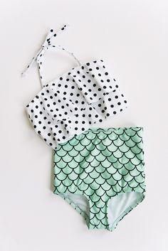 Girls mermaid print and polka dot high waist and ruffle top bikini by Whimsy Tails