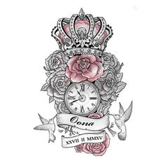 Rose and Crown Tattoo Art
