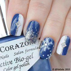Blu bianco argento glitter fiocco di neve