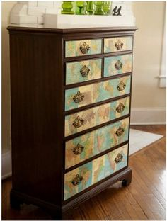 decoupage drawers going to do this with Glen's dresser