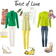 Twist of Lime trend by jayci-schmitt on Polyvore featuring Dolce&Gabbana, Charlotte Olympia, Burberry, CB Station, CAbi, women's clothing, women's fashion, women, female and woman