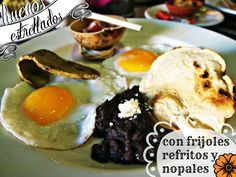 """'Huevos Estrellados"""" are sunny side up eggs, usually served with beans and tortillas"""