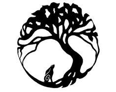 Hare moon gazing tree of life design. Vinyl self by UKArtist
